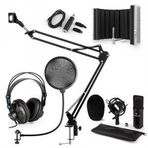 CM001B Set Microfono V5 Cuffie Condensatore Braccio Schermo Anti-Pop nero