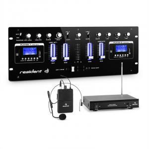 DJ405USB-BK 4-channel DJ Mixer incl. VHF Wireless Microphone Set with Headset