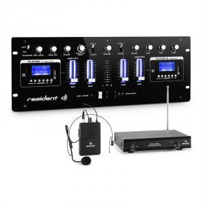 DJ405USB-BK 4-kanaals DJ mengpaneel incl. VHF draadloze microfoon met headset
