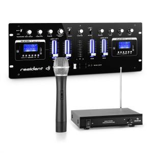 DJ405USB-BK 4-kanaals DJ mengpaneel incl. 1-kanaal VHF draadloze microfoonset