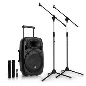 """Streetstar 12 Equipo PA móvil Set de trípode para micrófono Equipo PA de 12"""" 2 micrófonos"""