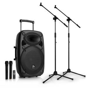 """Streetstar 15 Equipo de sonido PA transportable 2x Set de micrófono 15"""" equipo PA"""