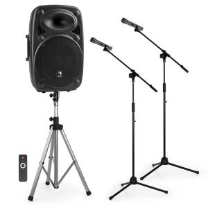 "Streetstar 15 Mobile PA system 2x Microphone Stands Set 15"" PA System"