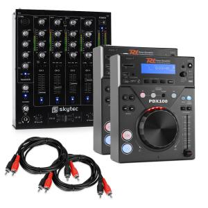 "DJ Set ""CD DJ Starter"" - 4 Channel Mixer 2xCD-Player 2xCinch cable"