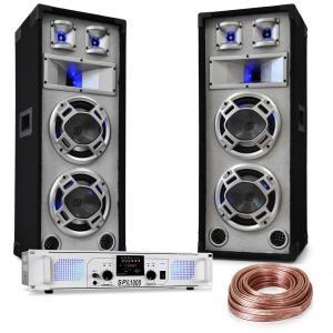 "DJ PA set ""White Noise"" 2x500W versterker 600W PA luidspreker incl. kabel"