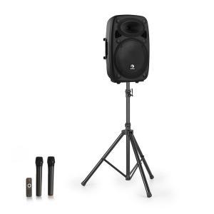 """Streetstar 12 Mobil PA-anläggning + stativ 12"""" woofer UHF-mikrofon 800 W svart"""
