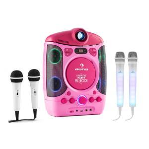 Kara Projectura Pink + Dazzl Mic Set Karaoke System Microphone LED Illumination