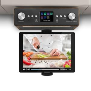"Connect Soundchef Kitchen Radio with Tablet Holder DAB + FM 2x3"" Boxes Walnut Walnut 