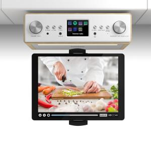"Connect Soundchef Radio Sottopensile Da Cucina con Supporto per Tablet DAB+ VHF Casse 2x3"" Faggio Faggio 