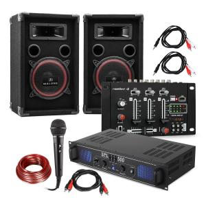 "DJ PA Set ""DJ-14"" USB, PA Amplifier, USB Mixer, 2 x Speakers, Karaoke Mic"