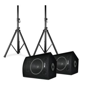 "SL10 discoboxen set incl. statieven 10"" woofer 250W max. 2x statief + tas 10"" (25 cm) speaker pair with stands"