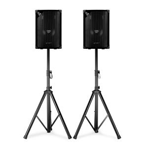 "SL8 Disco Speakers with Tripods 8"" Woofer 200Wmax 2x Tripod + Bag 8"" (20 cm) speaker pair with stands"