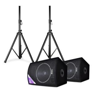 "Skytec SL12 set van 2 discoboxen met statief 12"" woofer max. 200W / 300W 12"" (30 cm) speaker pair with stands"
