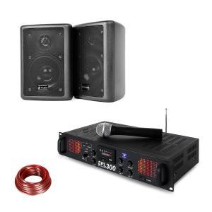 SPL 300 VHF PA förstärkare-set 2 högtalare högtalarkabel svart