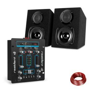 DJ-25 DJ Mixer + auna ST-2000 Speaker Set Black / Blue Blue