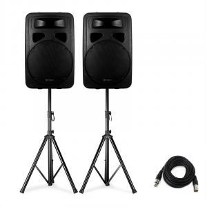 SP1500A Aktivboxen Set inklusive 2 Lautsprecherständern XLR-Kabel