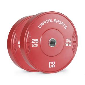 Nipton bumper plate gewichtsplaat | 1 x 25 kg | hard rubber rood 25 kg
