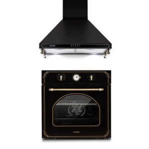 Victoria Set Built-in Oven Extractor Hood Retro Design Black Black
