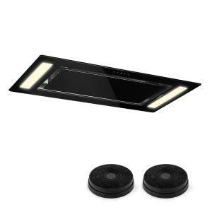 Remy Cooker Extractor Hood Recirculation Set 90cm Black | With replacement filter
