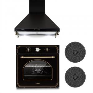 Victoria Set Built-in Oven Extractor Hood Recirculation Set Black Black