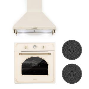 Victoria Set Built-in Oven Extractor Hood Recirculation Set Ivory Ivory