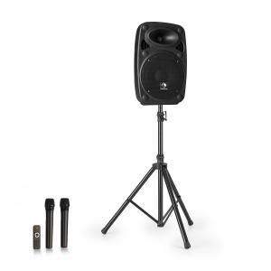 """Streetstar 8 Przenośny zestaw nagłośnieniowy + statyw woofer 8"""" mikrofon UHF 200 W kolor czarny"""