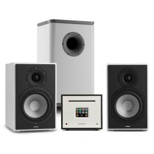 Unison Reference 802 Edition, system stereo, wzmacniacz, UniSub, głośniki, biały/szary/czarny