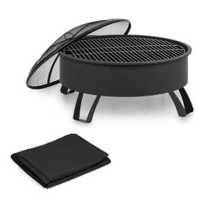 Oreos Fire Bowl Ø75cm | Ø68cm Grill Weather Protection Cover Steel Black
