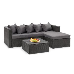 Theia Lounge Set trädgårdsmöbel svart / mörkgrå Svart | mörk grå