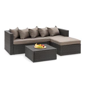 Theia Lounge Set da giardino nero / marrone  nero | marrone