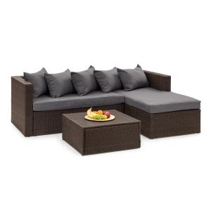 Theia Lounge Set Gartengarnitur Eckcouch Hocker 5 Kissen Polyrattan braun / dunkelgrau Braun | Dunkelgrau