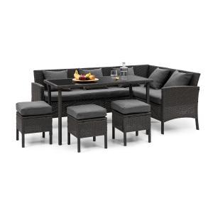Titania Dining Lounge Set Conjunto de Jardim Preto / Cinza escuro Preto | Cinzento escuro