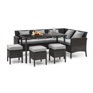 Titania Dining Lounge Set Conjunto de Jardim Preto / Cinza claro Preto | Cinza claro