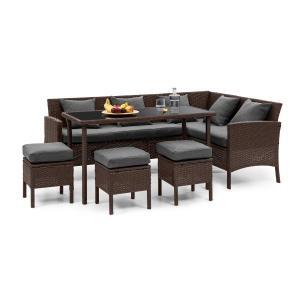 Titania Dining Lounge Set Conjunto de Jardim Marrom / Cinza escuro Castanho | Cinzento escuro
