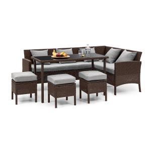 Titania Dining Lounge Set Mobili da Giardino marrone/grigio chiaro marrone | Grigio chiaro