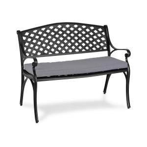 Pozzilli BL Garden Bench & Seat Cushion Set Black / Grey Black grey