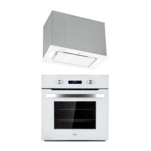 Gusteau Hektor Built-In Set Oven + Substructure Hood 2950W White Stainless Steel