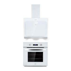 Gusteau Aurora Set de horno y campana de pared Blanco Acero inoxidable