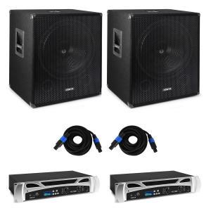 "Vonyx Bass Storm DJ PA-Set   PA-Verstärker: 2 x 500 Watt   2 x passiver PA-Subwoofer: 15"" (38cm) / 600 Wmax.   Bluetooth-Funktion   Mediaplayer mit MP3-Recorder   LED-Display   USB-Port   SD-Slot   Line-Eingang   inkl. Fernbedienung   inkl. PA-Kabel"
