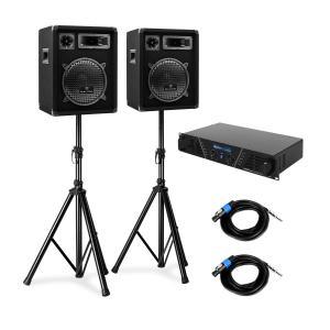Set PA 2 altavoces, amplificador y soportes