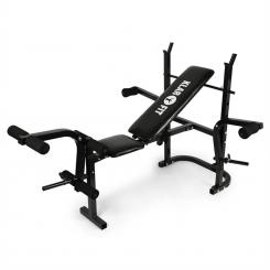 Workout Hero Hantelbank mit Ablage Armcurler Beincurler 160kg schwarz Armcurler / Beincurler