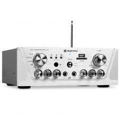 SKY-103 HiFi-Karaoke-Verstärker 400W max. Radio-Tuner MP3-USB-SD 2x Mikrofon-Anschluss silber Silber