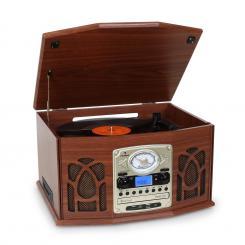 NR-620 Stereoanlage Plattenspieler MP3-Aufnahme Holzgehäuse Mahagoni