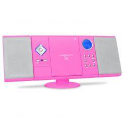V-12 Stereoanlage USB SD CD MP3 AUX UKW pink Pink