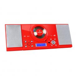 MC-120 Microanlage Vertikalanlage MP3-CD-Player USB AUX Wandmontage rot Rot