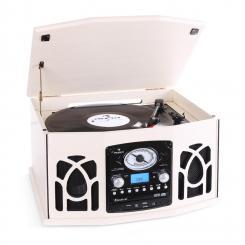 NR-620 Stereoanlage Plattenspieler MP3-Aufnahme Holzgehäuse creme Creme