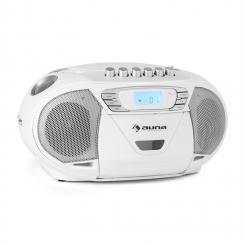KrissKross Ghettoblaster USB MP3 CD FM portabel weiß Weiß