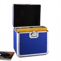 Zeitkapsel Aluminium-Plattenkoffer Vinyl-Case 70 Stück LP blau Blau