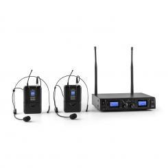 Duett Pro V2 2-Kanal UHF-Funkmikrofon-Set 50m Reichweite 2 x Headset-Mikrofon