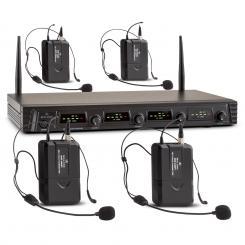 Duett Quartett Fix V3 4-Kanal UHF-Funkmikrofon-Set 50m Reichweite 4 x Headset-Mikrofon